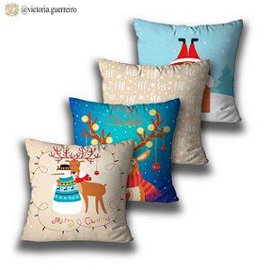 kit 4 almofadas Natal azul