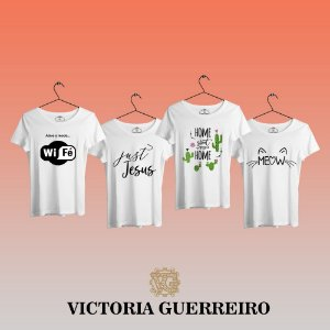Kit 4 Camiseta T-shirt Feminina Fé