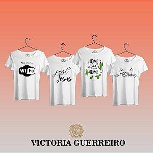 Kit 4 Camiseta T-shirt Feminina Fé