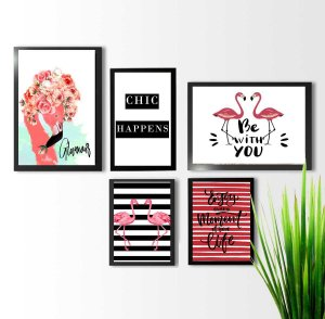 KIT 5 QUADROS DECORATIVOS FLAMINGOS