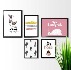 Kit 5 quadros decorativos Lhamas