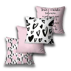 Kit 4 almofadas Coração Rosa