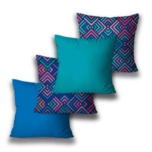 Kit 4 almofadas Geométrica Azul