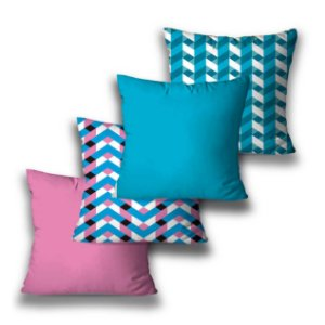 Kit 4 almofadas Geométrica Pink Blue