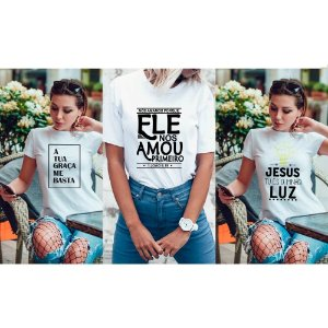 Kit 3 camisetas T-shirt  feminina Gospel
