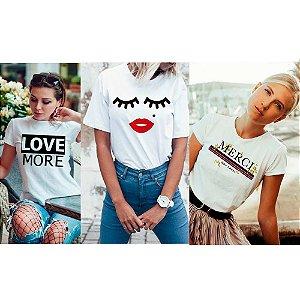 Kit 3 camisetas T-shirt  feminina Cílios