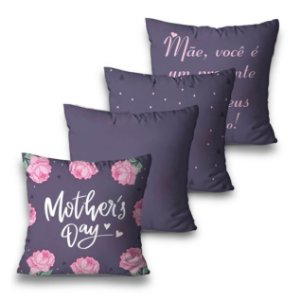 Kit 4 almofadas Roxa Dia das Mães