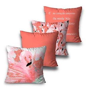 Kit 4 almofadas Mãe Flamingo
