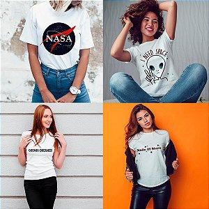 Kit 4 camisetas T-shirt  feminina Star Palnets