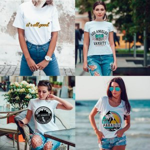 Kit 4 camisetas T-shirt  feminina Summer