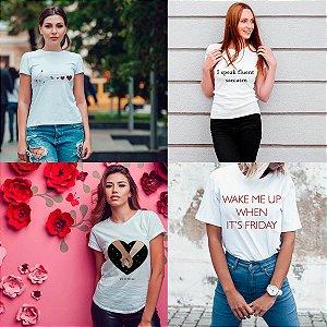 Kit 4 camisetas T-shirt  feminina Frases