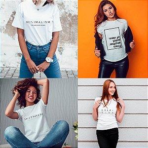 Kit 4 camisetas T-shirt  feminina P&B