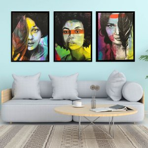kit 3 quadros decorativos Mulheres by Paulo Handa