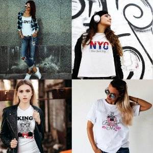 Kit 4 camisetas T-shirt  feminina NYC