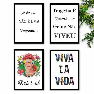 KIT 4 QUADROS DECORATIVOS FRIDA K