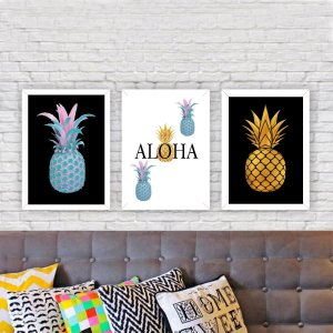 KIT 3 QUADROS DECORATIVOS ALOHA