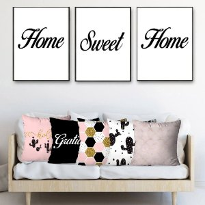 KIT 3 QUADROS DECORATIVOS HOME