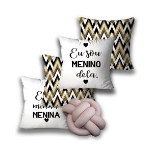 KIT 4 ALMOFADAS OU CAPA + 1 NÓ ELE E ELA