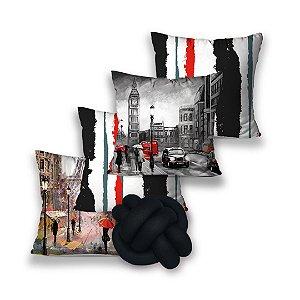 KIT 4 ALMOFADAS OU CAPA + 1 NÓ LONDON