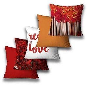 KIT 5 CAPAS DE ALMOFADAS RED LOVE