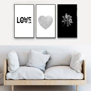 KIT 3 QUADROS DECORATIVOS LOVE PRATA