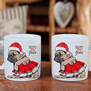 02 Canecas Cerâmicas Natal Pug