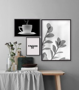 KIT 3 QUADROS DECORATIVOS COFFEE
