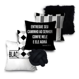 KIT 5 ALMOFADAS OU CAPAS E 01 NÓ BLACK AND WHITE