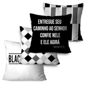 KIT 4 ALMOFADAS OU CAPAS BLACK AND WHITE