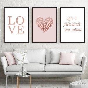 KIT 3 QUADROS DECORATIVOS LOVE