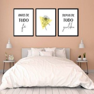 KIT 3 QUADROS DECORATIVOS FÉ
