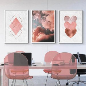 KIT 3 QUADROS DECORATIVOS GEOMÉTRICA ROSA