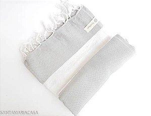 Fouta Branco e Cinza - Toalha Turca artesanal de algodão de alta qualidade