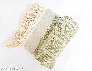 Fouta Listras Oliva - Toalha Turca artesanal de algodão de alta qualidade