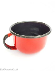 Chícara de café com leite Vermelha esmaltada Ewel  240ml