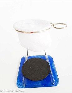 Coador de café individual com suporte de vidro Azul