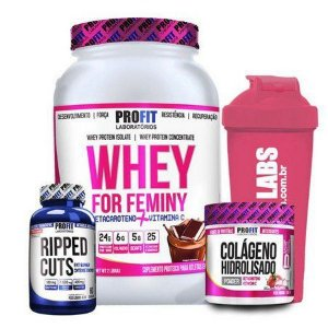 Kit - Combo - Whey For Feminy (900g) + Colageno + Ripped Cuts
