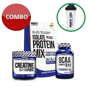 [PROFIT] Isolate Protein Mix 1,8kg + Creatina + BCAA + Coqueteleira