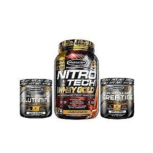 [MUSCLETECH] Nitrotech Gold (1kg) + Creatina (100g) + Glutamina (100g)