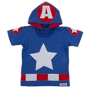 Camiseta com Capuz Capitão América