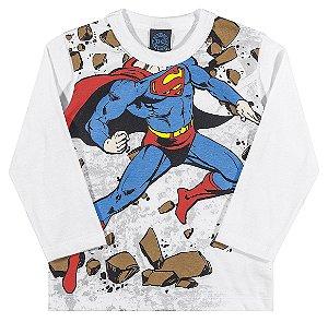 Camiseta Manga Longa Superman Branca
