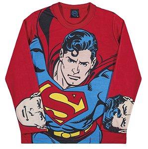 Camiseta Manga Longa Superman Vermelha