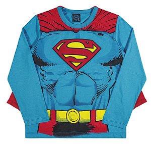 Camiseta com Capa Manga Longa  Superman