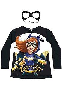 Camiseta Manga Longa com Máscara Batgirl