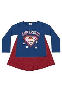 Camiseta Manga Longa com Capa SuperGirl