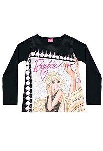 Camiseta Manga Longa Preta Barbie