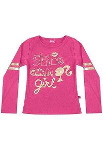 Camiseta Manga Longa Rosa Barbie