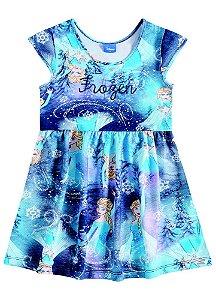 Vestido Manga Curta Frozen