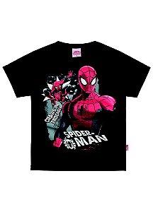 Camiseta Manga Curta Preta Homem Aranha