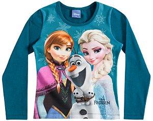 Camiseta Manga Longa Azul Frozen